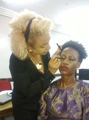 My model- Tayo Nsoleke. Demonstrating how to apply strip lashes. Remember not every strip lash is suitable for all eye types